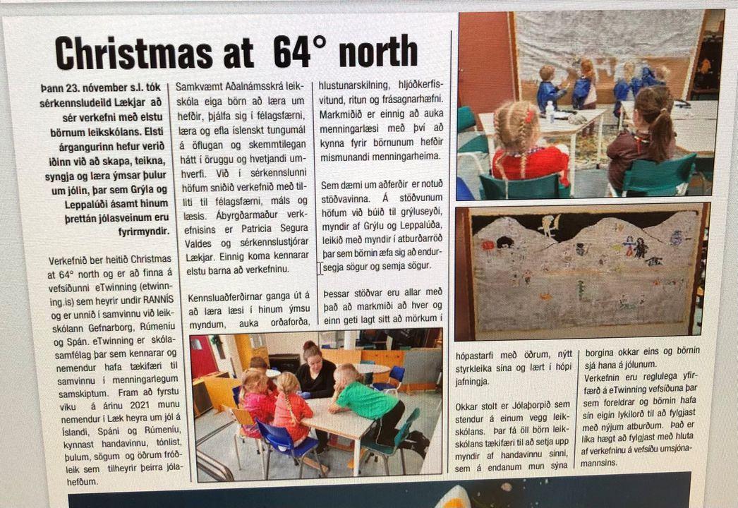 Fréttamynd - Gæða stimpill frá eTwinning fyrir Christmas at 64° north