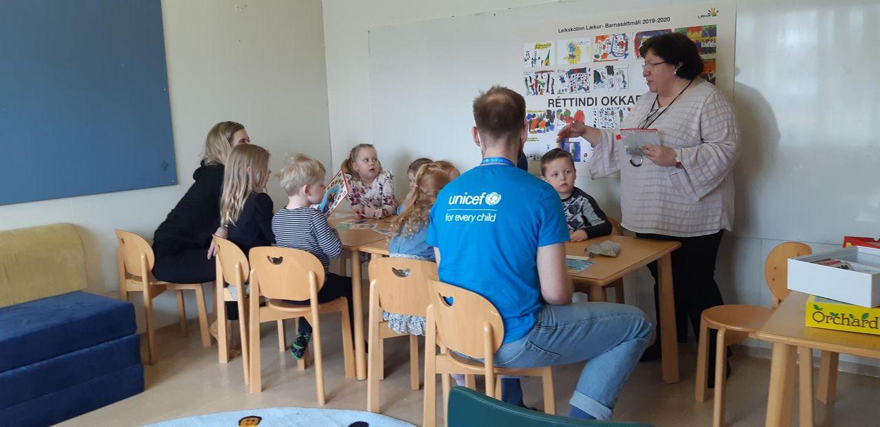 Fréttamynd - Heimsókn Unicef í leikskólann Læk